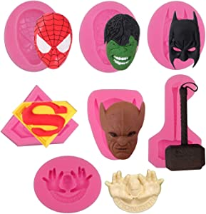 7 Pack Spiderman Batman Film Character Molds Superhero Silicone Molds Fondant Candy Chocolate Molds for Cake Decorations