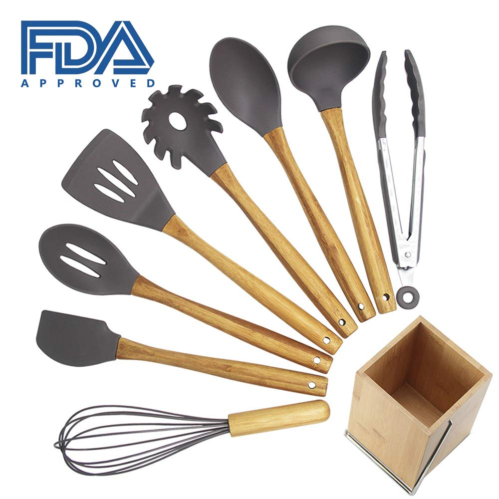 Kitchen Utensil Set,9 Pieces Cooking Utensils sets with Holder, Natural Bamboo Handle Silicone Cooking Utensils Slotted Spatula Turner Whisk Spoon Tongs Ladle for Non-stick Cookware GFA