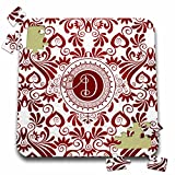 Doreen Erhardt Monogrammed Collection - Initial D Monogram with Elegant Swirls of Red over White - 10x10 Inch Puzzle (pzl_245297_2)