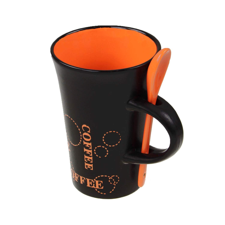 in ceramica colore nero Tazzina da caff/è con cucchiaino OOTB