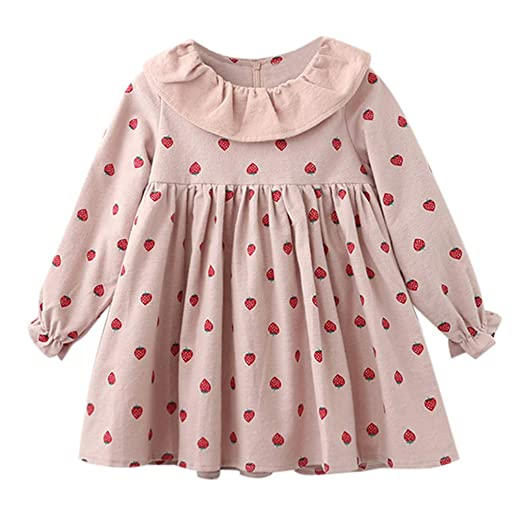 a9ada7215d5d Amazon.com  GorNorriss Baby Dress Toddler Kids Girl Long Sleeve Print  Ruffles Party Princess Dresses  Clothing