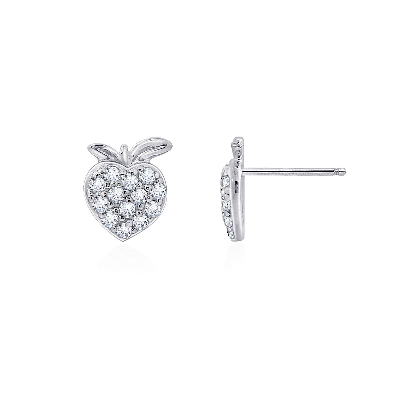 JADMIRE Fruits Collection Sterling Silver Swarovski Zirconia Strawberry Stud Earrings