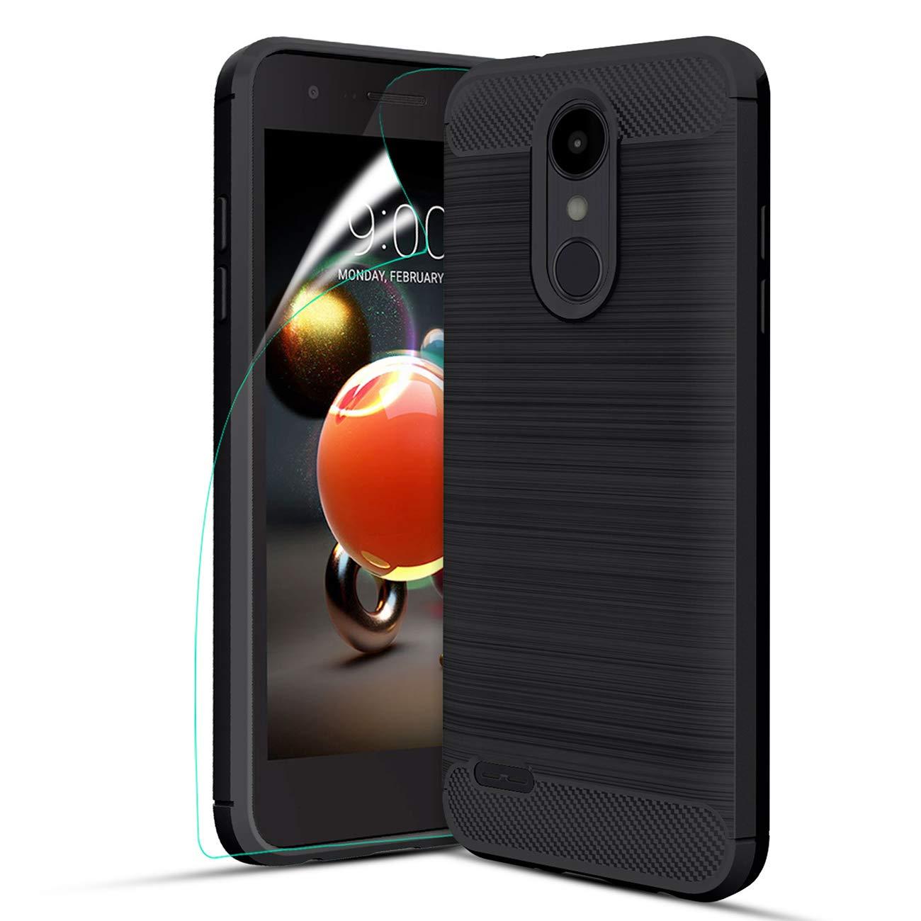 LG Aristo 2 Case,LG Tribute Dynasty/LG Aristo 3/Aristo 2 Plus/Rebel 4/Phoenix 4/LG Tribute Empire/Zone 4/Fortune 2/K8 2018/K8 Plus Case wScreen Protector,Carbon Fiber Brushed TPU Protective Case,Black