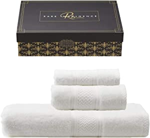 Ri Rare Indulgence 100% Egyptian Cotton 3 Piece Towel Set Luxury Hotel Quality Towel Set 880 Gram.Beautiful Gift Boxed Perfect for Your Home or Housewarming, Christmas, Wedding, Engagement Present.