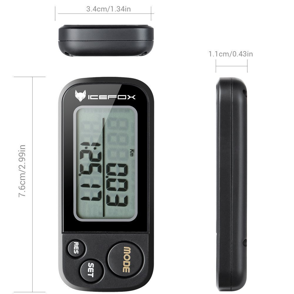 IceFox Walking 3D Pedometer with Clip and Strap,30 Days Memory,Best Accurate Step Counter,Walking Distance Miles and Km,Calorie Counter,Daily Target Performance Monitor,Exercise Time(Black) by IceFox (Image #3)