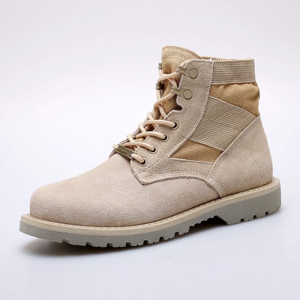 WANG-LONG Schuhe Herren Stiefel Martin Desert Stiefel High-Top Work schuhe Outdoor Couple,Beige-40