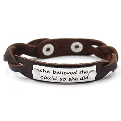 Women's Inspirational Message Braided Leather Bracelet