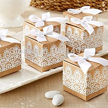 JUIOKK 100 Pcs Lace Bowknot Kraft Paper Candy Boxes Cookies Chocolate Container Gift Box Birthday Wedding