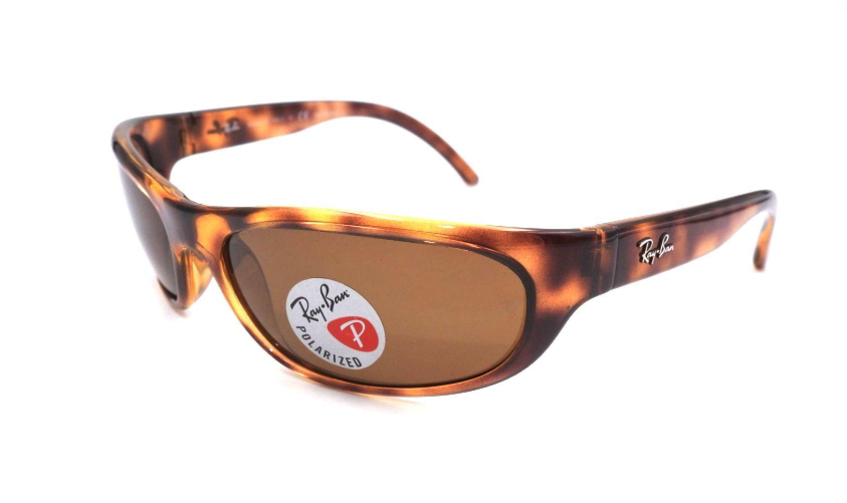 Ray-Ban Men's Rb4033 Polarized Rectangular Sunglasses, Havana, 60.6 mm