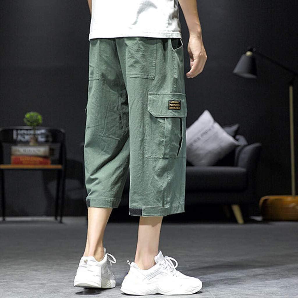 wodceeke Cotton Linen Shorts for Men Casual Harem Pants Jogger Pants Fitness Trousers Loose Pants