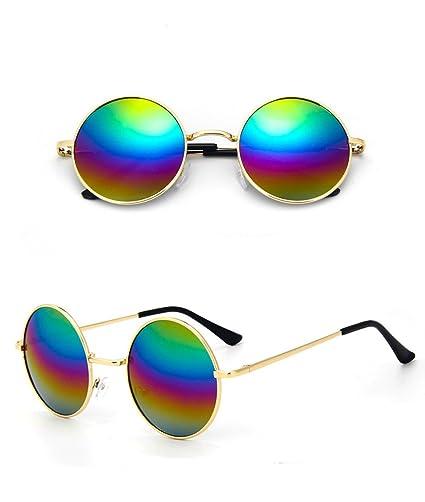 Lunettes de soleil Chic-net unisexe lunettes rondes de hippie John Lennon teintées 400UV longue jetée rose vert tlFEor8P