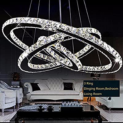 Modern Crystal 3 Rings Pendant Light Sparkling Chandelier Pendant Lamp Lighting Fixture