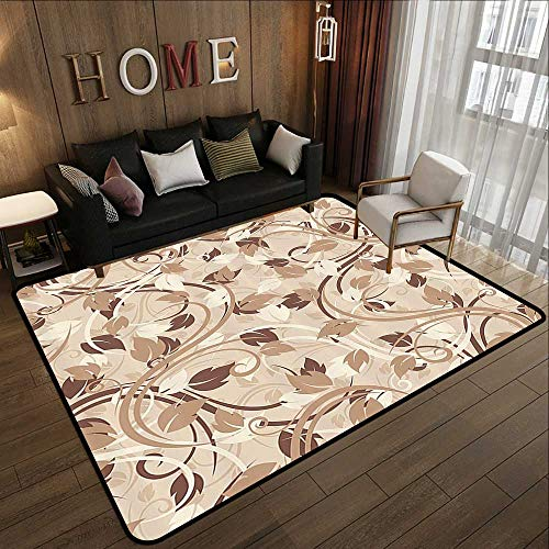 Kids Rugs for playroom,Ivory,Autumn Leaves in Faded Earthen Tones Fall Season Branches Romance Illustration,Cream Umber Cocoa 71