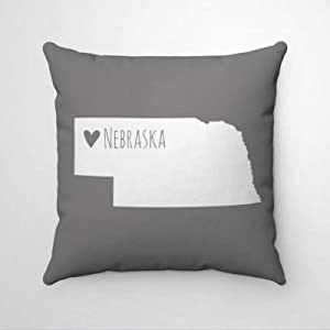 DONL9BAUER Nebraska Map Pillowcase Home State Map Decorative Throw Pillow Cover Heart Nebraska Home Cotton Linen Cushion Cover Farmhouse Home Decor for Sofa Couch