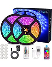 Bluetooth LED Strips Lights, ALED LIGHT 5050 RGB 2x5 meters LED Strip Lights 12V Waterproof Light Band Controlled by Remote Control 40K or Smart Phone for Home, Outdoors and Decoration [Energy efficiency class A +]