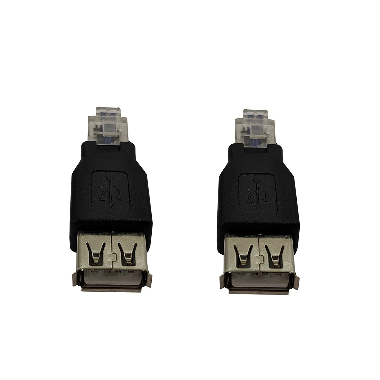 2 Pack USB A Female to RJ11 6P4C Adapter Converter Connector