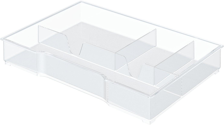 Leitz 52150002 - Bandeja organizadora para bucs de cajones Plus y WOW, 4 compartimentos, Transparente, Plástico