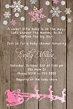 30 Invitations Rustic Christmas Santa Sleigh Baby Girl Shower Wood Watercolor Pink Personalized Cards Photo Paper