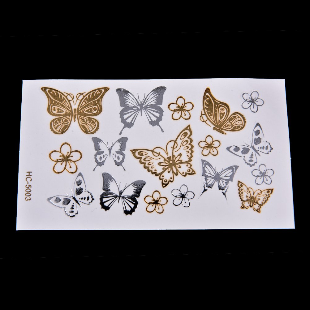 1 Pcs Metallic Temporary Butterfly Flowers Tattoos Waterproof Body Arts Simulation Stickers by Team-Management