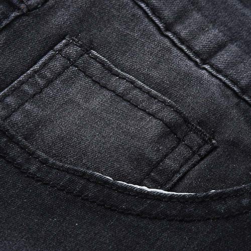 Droite Pantalon 3 Sport Avec Hiver Bande Déchiré Soldes Jeans Style Homme Pants overdose Casual Noir Bleu Automne Skinny Jean Noir qwvz1pHv