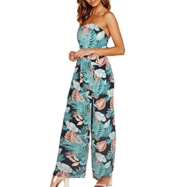 4d95c37df4c Fashion Women Strappy Jumpsuits and Rompers Holiday Wide Leg Pants Long  Jumpsuit Summer Backless Beach Party