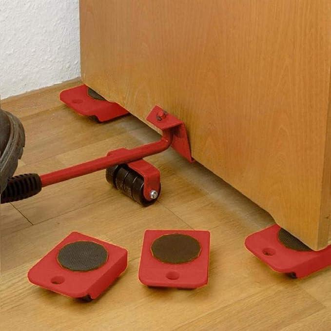 Juego de 5 piezas de mobiliario pesado estilo garra de gato kit de mobiliario para muebles con ruedas ruedas para muebles con 1 varilla de elevaci/ón y 4 ruedas de desplazamiento sin esfuerzo