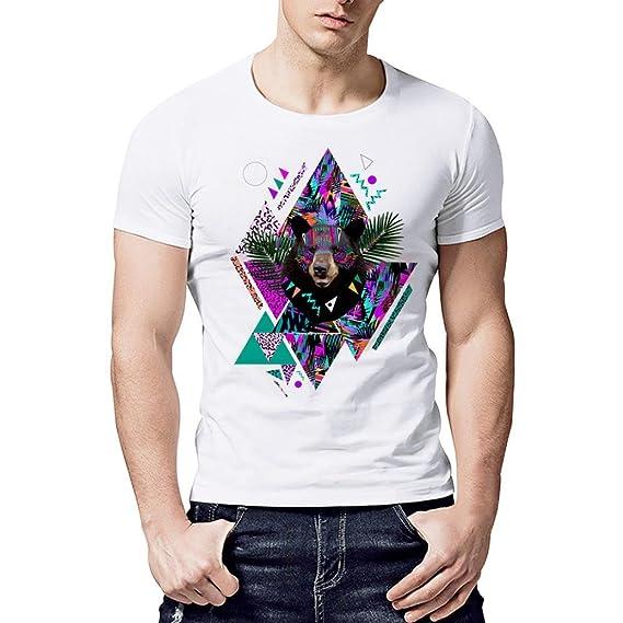 Resplend Camiseta de Manga Corta con Cuello en Pico Blanco Estampado geométrico Casual para Hombre: Amazon.es: Ropa y accesorios