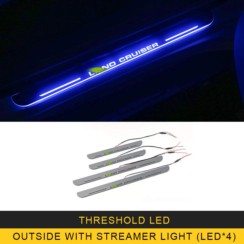 ANTEKE for Toyota Land Cruiser 2016 Car Styling LED Light Door Threshold Sill Scuff Plate Welcome Pedal Stickers Accessories (Threshold LED-[Outside with Streamer light4])