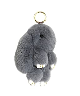 BUYITNOW Bunny Keychain Plush Rex Rabbit Fur Keyring Bag Charms Pendant, 5 Inch