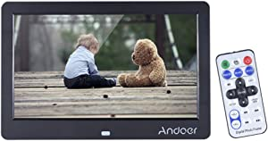 Andoer 10 inch Digital Picture Frame, HD Wide Screen Electronic Photo Frame with Remote Control and CR2025 Controller Battery 1280x600 High Resolution Clock Calendar MP3 MP4 Movie