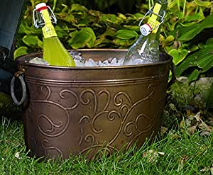 """Large 18"""" Galvanized Antiqued Vine Oval Party Tub"""