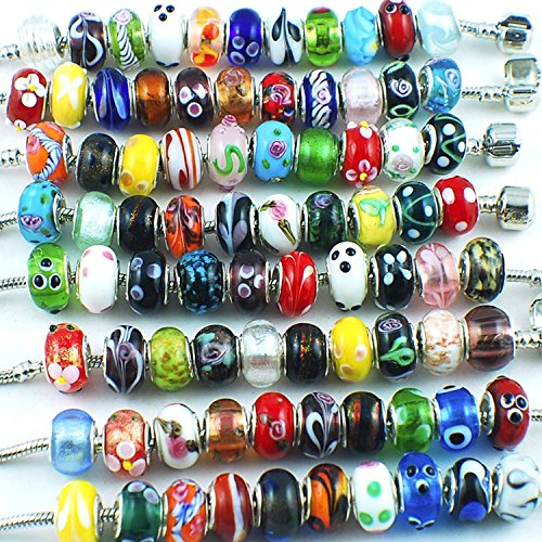 RUBYCA Silver Color Murano Glass Beads Fit European Charm Bracelet Spacer by eART 50pcs Mix ()