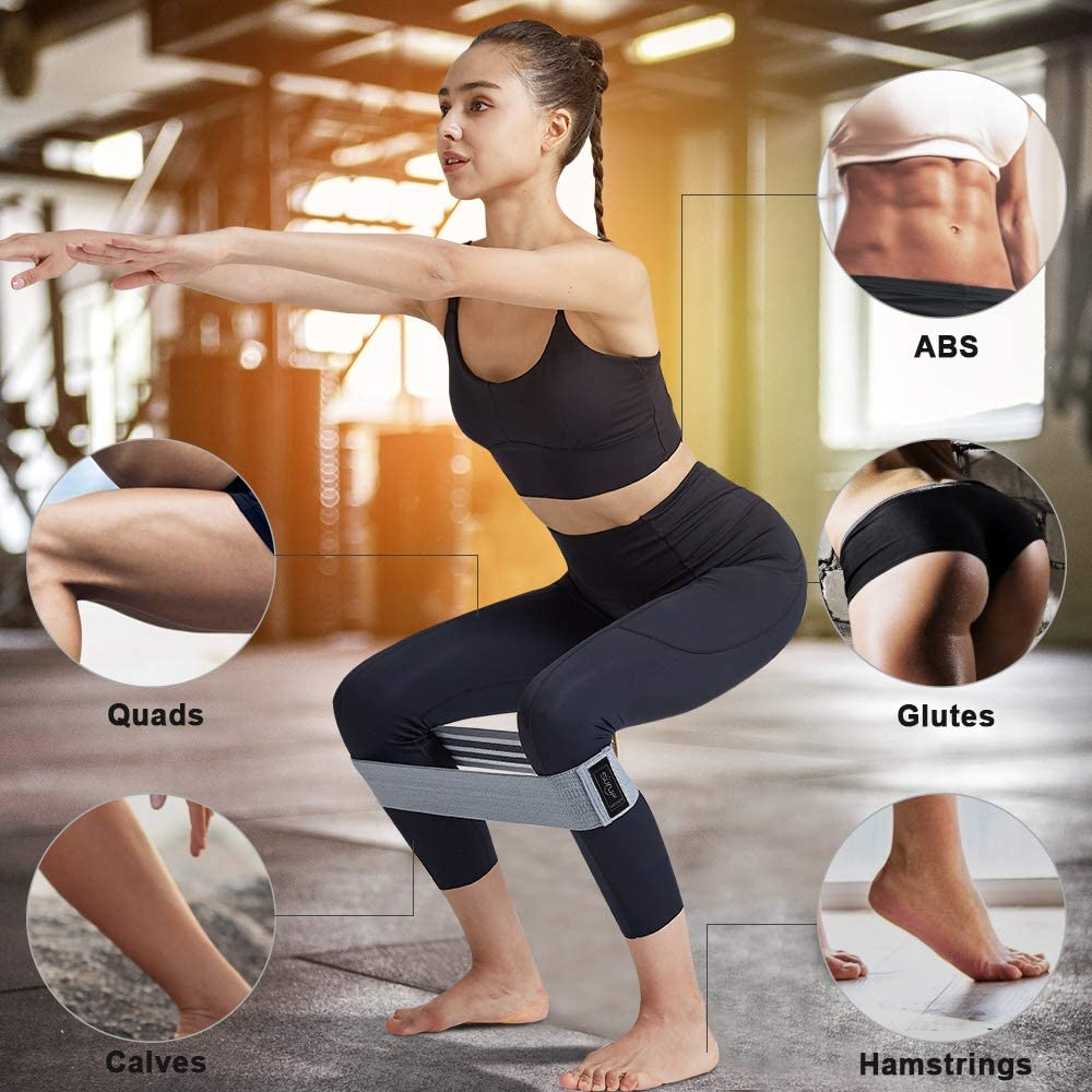 Resistance Loops Hip Thigh Glute Bands Non Slip Fabric W Carry Bag /& Booklet. Resistance Bands for Legs and Butt Set 3 Booty Bands Workout Bands Exercise Bands