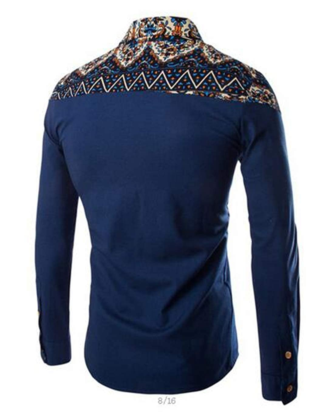 Rrive Mens Fashion Long Sleeve Regular Fit Ethnic Print Patchwork Button Up Shirts