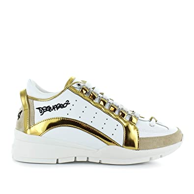e695b2c8c7824 Women's Shoes Dsquared2 551 White Gold Sneakers FW 2019: Amazon.co.uk:  Shoes & Bags