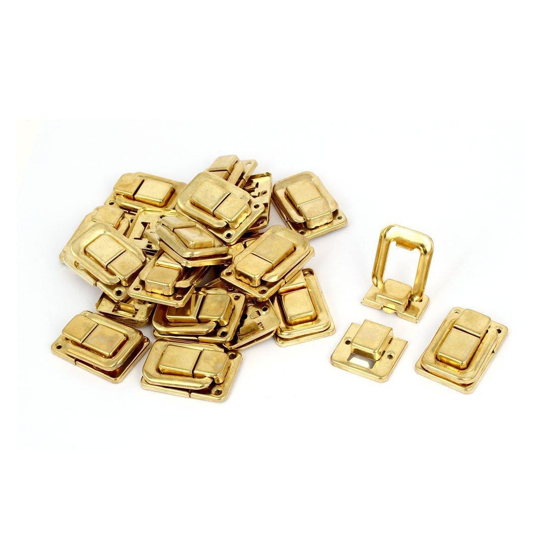 sourcing map Borse custodia in legno scatola di ferro chiusura a scatto di bloccaggio fermaglio tono oro 38mm Lunghezza 20pz a16080900ux0428