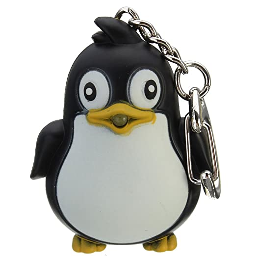 preliked Penguin KeyChain With LED Light with Sound Key Ring Torch Xmas  Gift - Black 0fb4d21e1