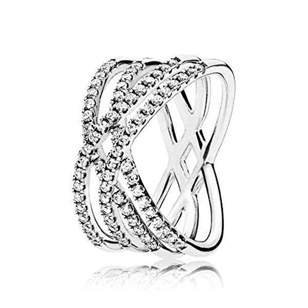 PANDORA Cosmic Lines Ring, Sterling Silver And Clear Cz, Size 7 US, 196401CZ-54