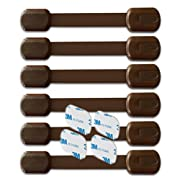 BabyKeeps Child Safety Locks - Latches to Baby Proof Cabinets, Drawers, Appliances - No Drilling - Plus Extra 3M Adhesive Included - Adjustable Length - 6 Pack, Brown