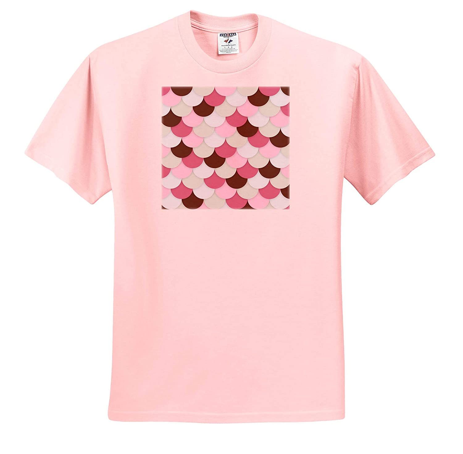 Beige Pink T-Shirts Pattern Scale Brown Blue Regular Scale Pattern 3dRose Alexis Design Pastel Colors