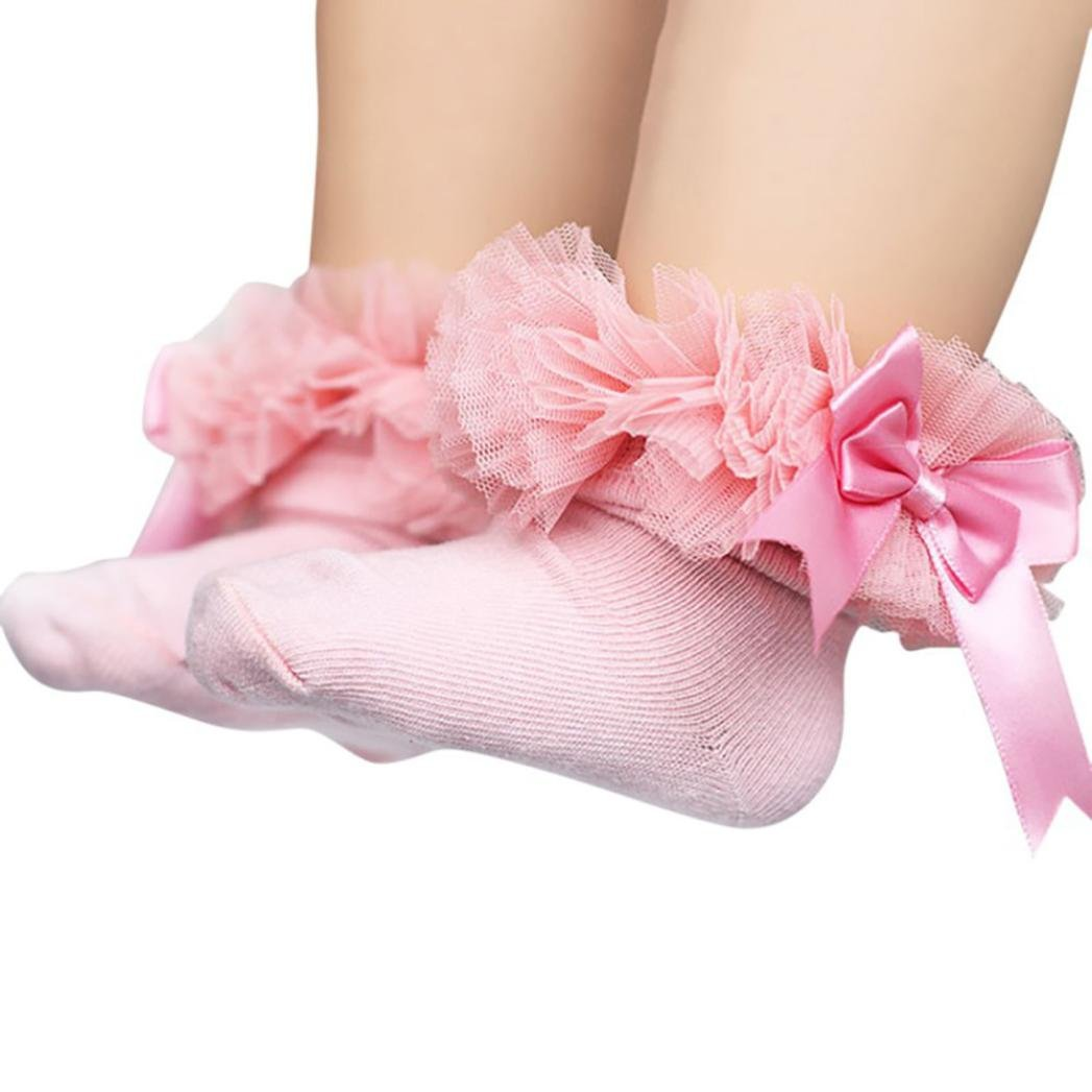 DIGOOD Suit for 0-6 Years Old Kids, Girls Princess Elegant Bowknot Lace Ruffle Frilly Trim Ankle Socks (2-4 Years Old, Pink) by DIGOOD (Image #1)