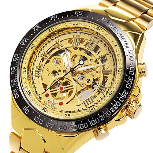 ManChDa Automatic Mechanical Skeleton Wrist Watch for Men Stainless Steel Strap Luxury Roman Number Transparent Dial with Box (Gold)