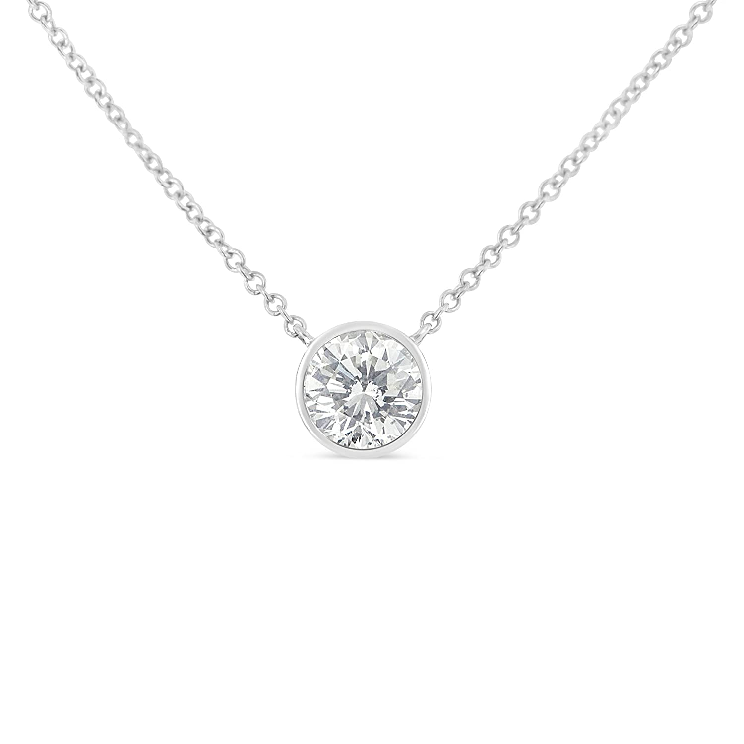 pendant necklace beers diamond solitaire white gold aura de