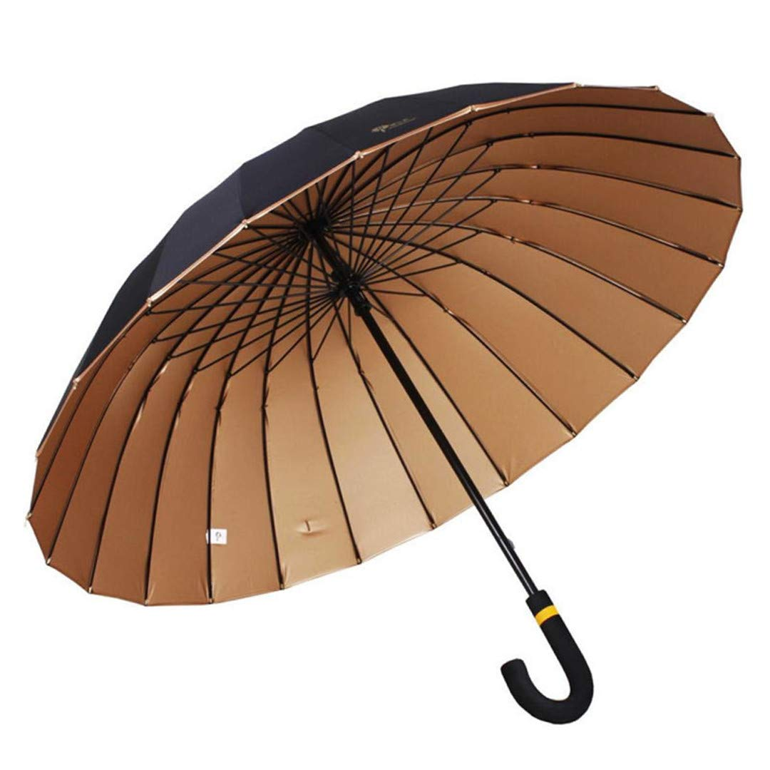 KEHAIsan 24Kリブ防風ロングベントH leサンレインスティックラージメンズ紳士用傘ゴールドUVマニュアルビッグパラソル B07KVZTB6W