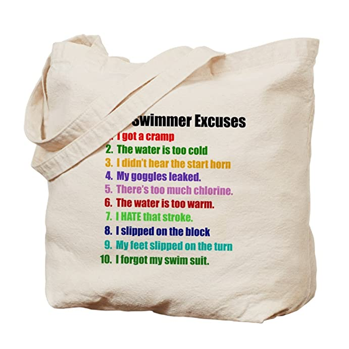 CafePress - Swim Excuses - Natural Canvas Tote Bag, Cloth Shopping Bag