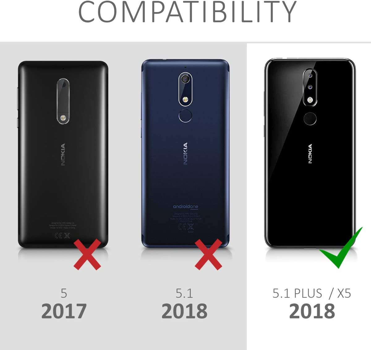 kalibri Protector de Pantalla Compatible con Nokia 5.1 Plus (2018 ...
