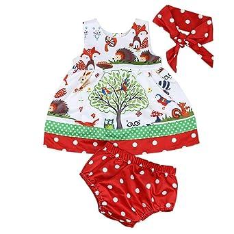 JERFER Prinzessin Kleid Baby Säugling Mädchen Wälder Punkt Kurze Hose Hose Stirnband Kleider Fröhliche Weihnachten