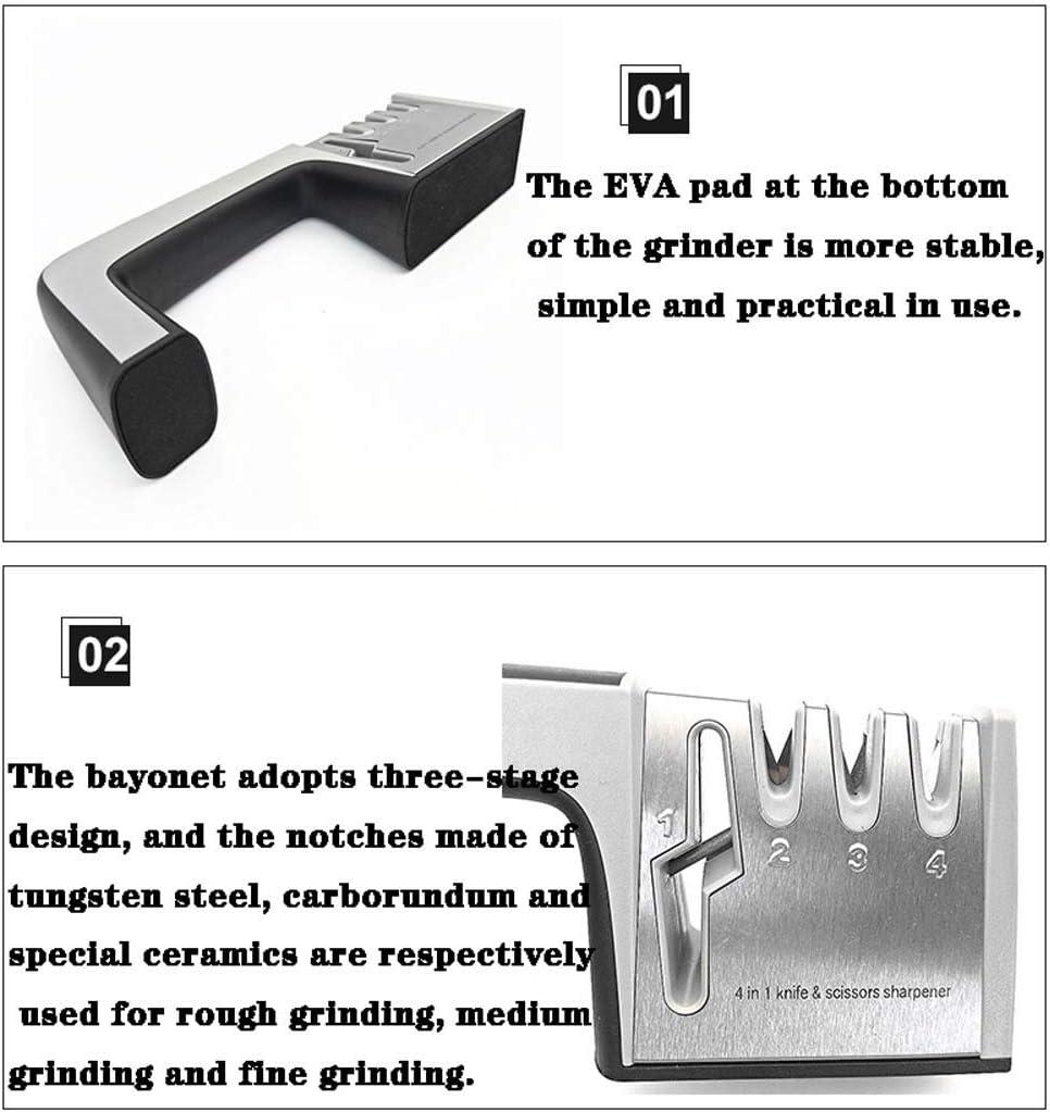 DongYuYuXuXi Haushalt Vier Abschnitt Messerschärfer Manuell Fest Winkel Schleifen Schere Artifact-Küche-Werkzeug-Multifunktionsmesser Wetzstein (Color : A) B