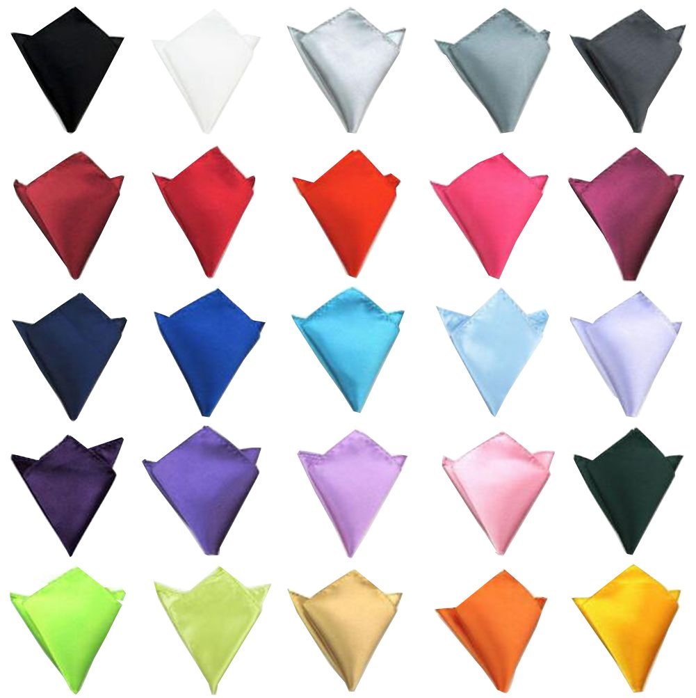 Mens Pocket Squares Wedding Party Handkerchief Polyester Silk Satin Hanky Solid Color