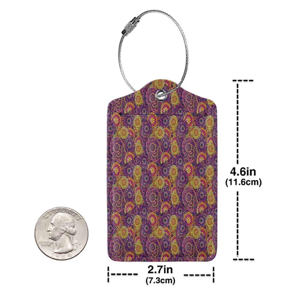 Printed luggage tag Vintage Traditional Paisley Motifs Pattern Oriental Design Flower Ornaments Curvy Antique Protect personal privacy Multicolor W2.7 x L4.6